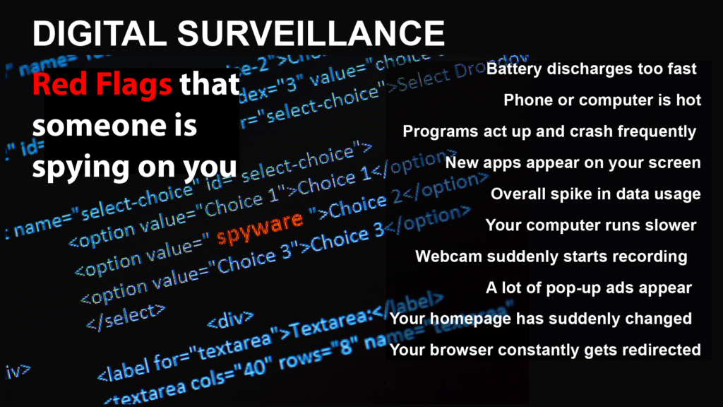 digital screen with spyware computer code and list of red flags that someone is spying on you