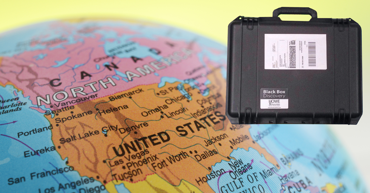 ediscovery remote collection black box and United States map
