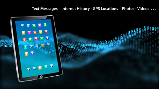 Tablet iPad on top of binary code background